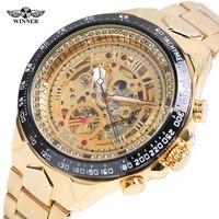 Winner Wrist Watches Business Men Skeleton Automatic Watch New Number Sport Design Bezel Golden Watch Gift