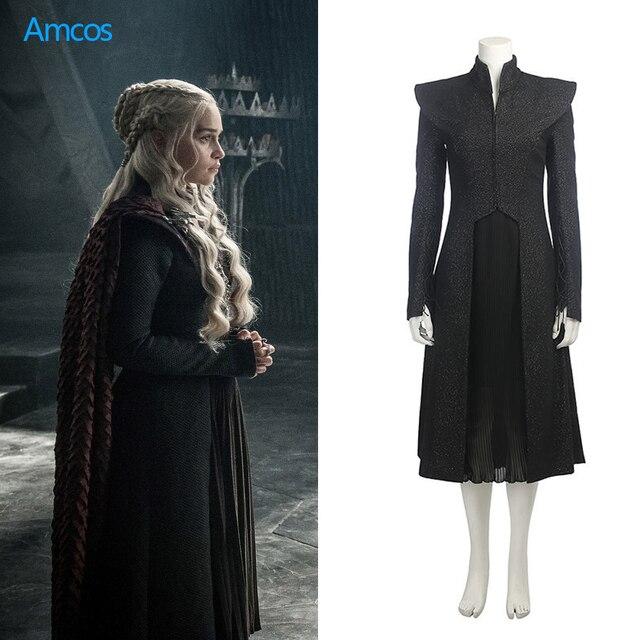Game of Thrones Stagione 7 Abito Nero Cappotto Daenerys Targaryen Cosplay  Costume di Halloween Festa di f6492d536f9