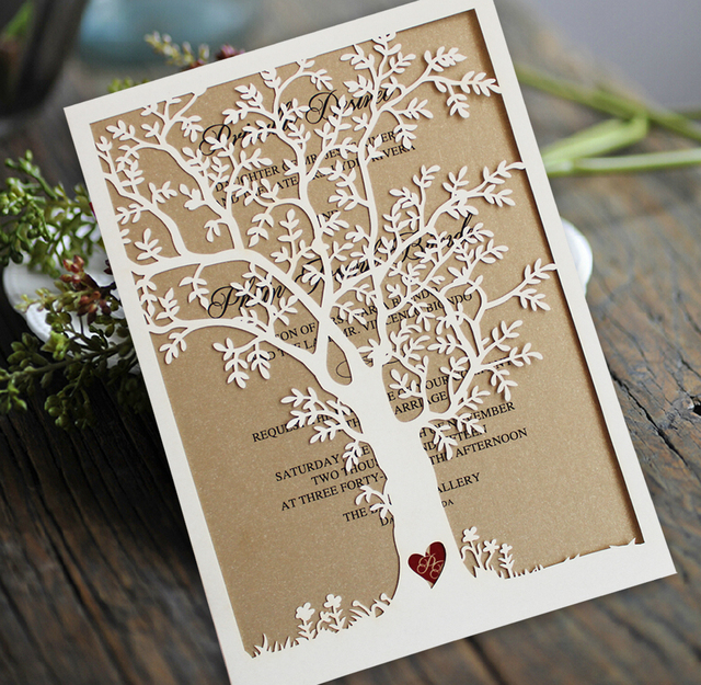 Laser Cut Tree Wedding Invitation, Fall Wedding Invitation Cards - rustic wedding invitation