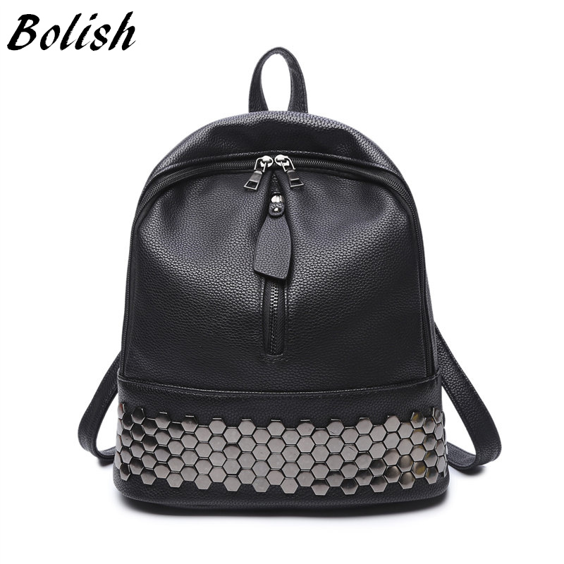 Bolish High Quality PU Leather Backpack Wanita Preppy Style School Backpack Black Mater Rivet Women Bag