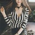 Stripe t-shirt female women strip shirt summer tops 2016 ladies deep v neck top low cut t shirt women 2016 hot sale  AA653