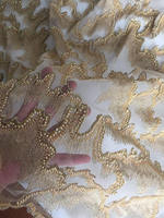 5 yards heavy beaded lace fabric, gold super delicat 3D beads lace fabric, vintage style bridal lace fabric, beading cord lace