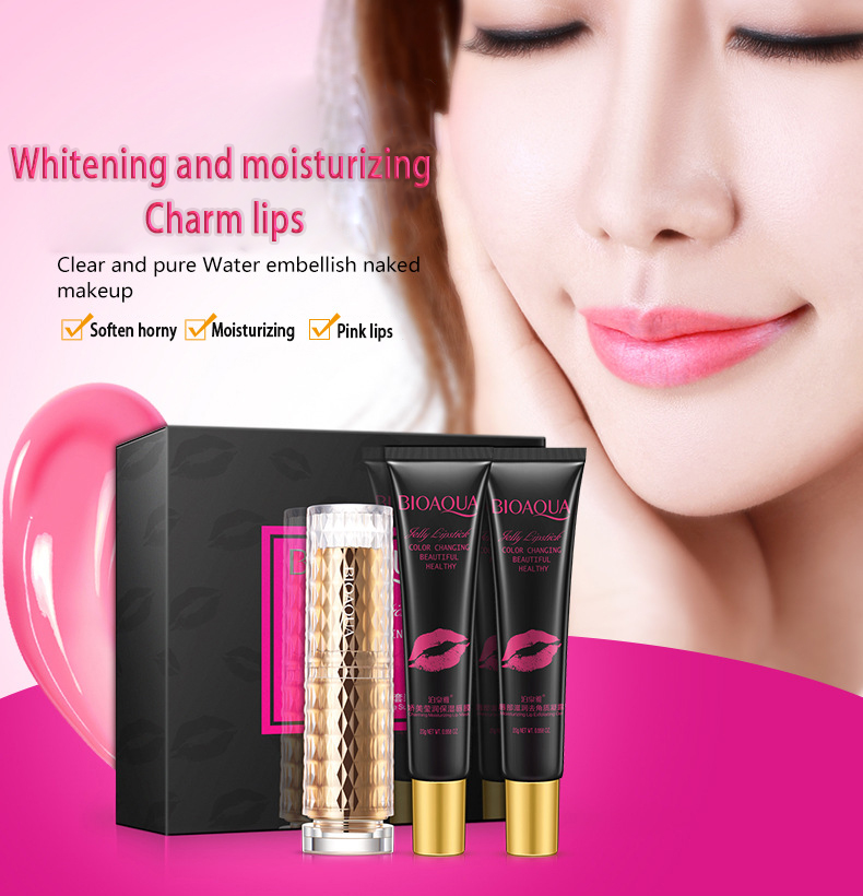 BIOAQUA Exfoliating Gel / Lip Film /Jelly Liquid Lipstick Lip Care Set Beauty Makeup Liquid Lipstick Pink Tender Moisturizing 13