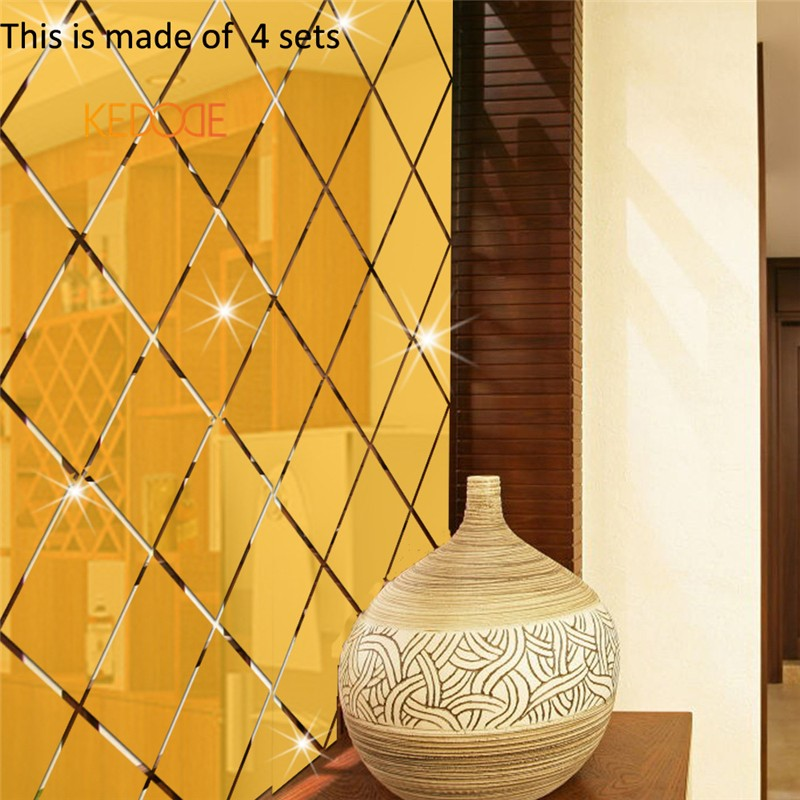 KEDODE Creative 3D diamond mirror stereo stickers dining room TV ...