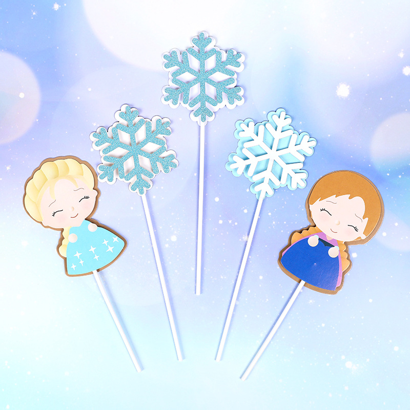 Lovely Beautiful Girls Snowflake Cake Topper Winner Snowflake Cake Decoration New Year Christmas Happy Birthday Party Supplies in Cake Decorating Supplies from Home Garden