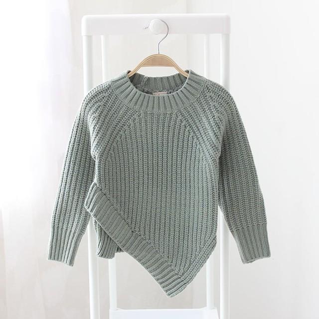 2017 de primavera para niños de punto irregular suéteres niños sólido Con Palangre de Hendidura Frontal Jumper suéter puro rosa verde