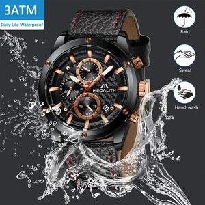 Image 3 - MEGALITH แฟชั่นทหารนาฬิกาผู้ชายกีฬานาฬิกากันน้ำ Chronograph นาฬิกาผู้ชายสายหนังนาฬิกาข้อมือควอตซ์ชาย 8004