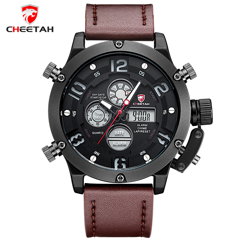 где купить  CHEETAH Luxury Brand Men Sports Watches Men's Quartz Analog LED Clock Man Leather Army Military Wrist Watch Relogio Masculino  по лучшей цене