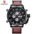 CHEETAH Luxury Brand Men Sports Watches Men's Quartz Digital LED Clock Man Leather Army Military Wrist Watch Relogio Masculino