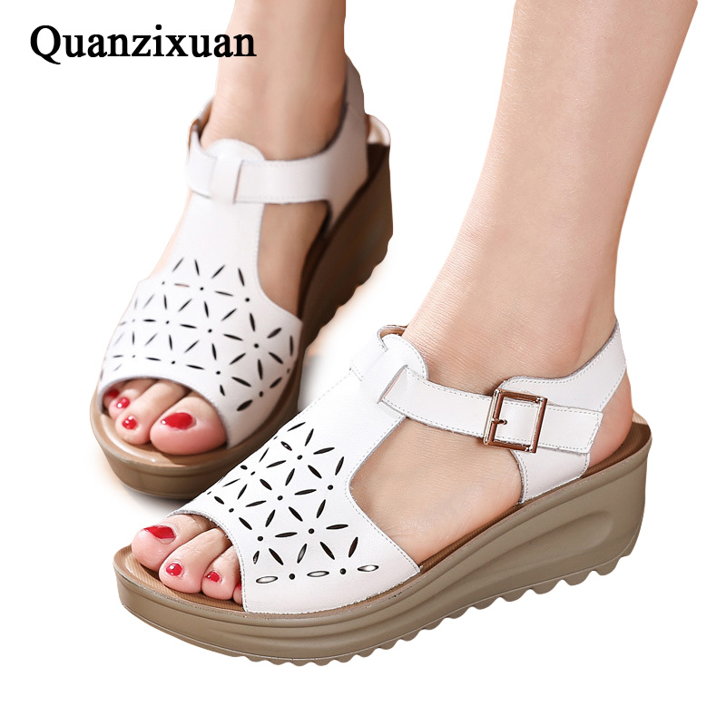 Quanzixuan Summer Wedge Shoes Women Sandals Casual Flat Sandals Thick Bottom Shoes Female Hollow Peep toe Women Shoes han edition diamond thick bottom female sandals 2017 new summer peep toe fashion sandals prevent slippery outside wear female
