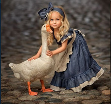 все цены на Spanish Baby Clothes Baby Girls Princess Dress Robe Fille Vestidos Infantil Cut and Sew  Palace Style Lolita Maid Cosplay Dress онлайн