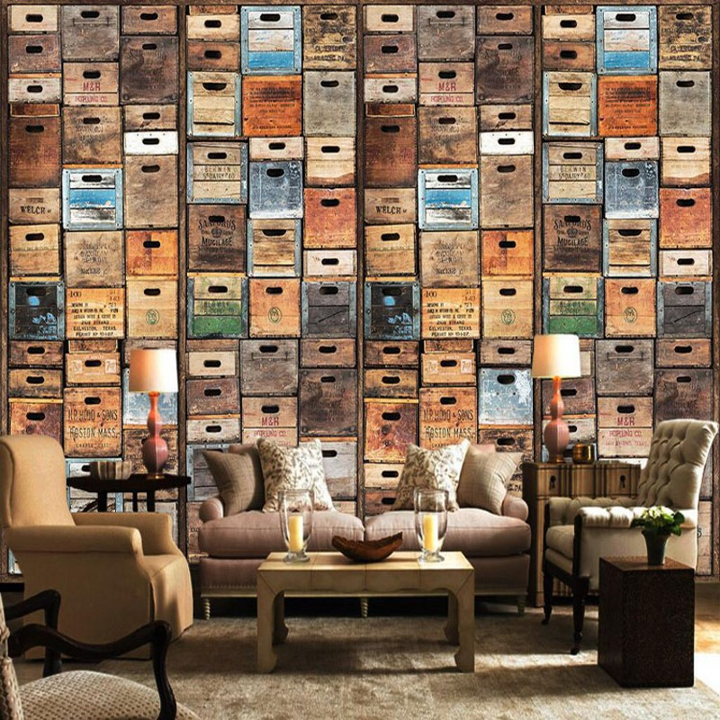Free Shipping American Retro Personality 3D Creative Bookshelf Bookcase Library Cafe Bar Wallpaper Non Woven Murals