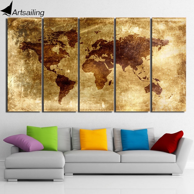 Hd printed 5 piece canvas art painting vintage world map picture hd printed 5 piece canvas art painting vintage world map picture posters and prints home decor gumiabroncs Gallery