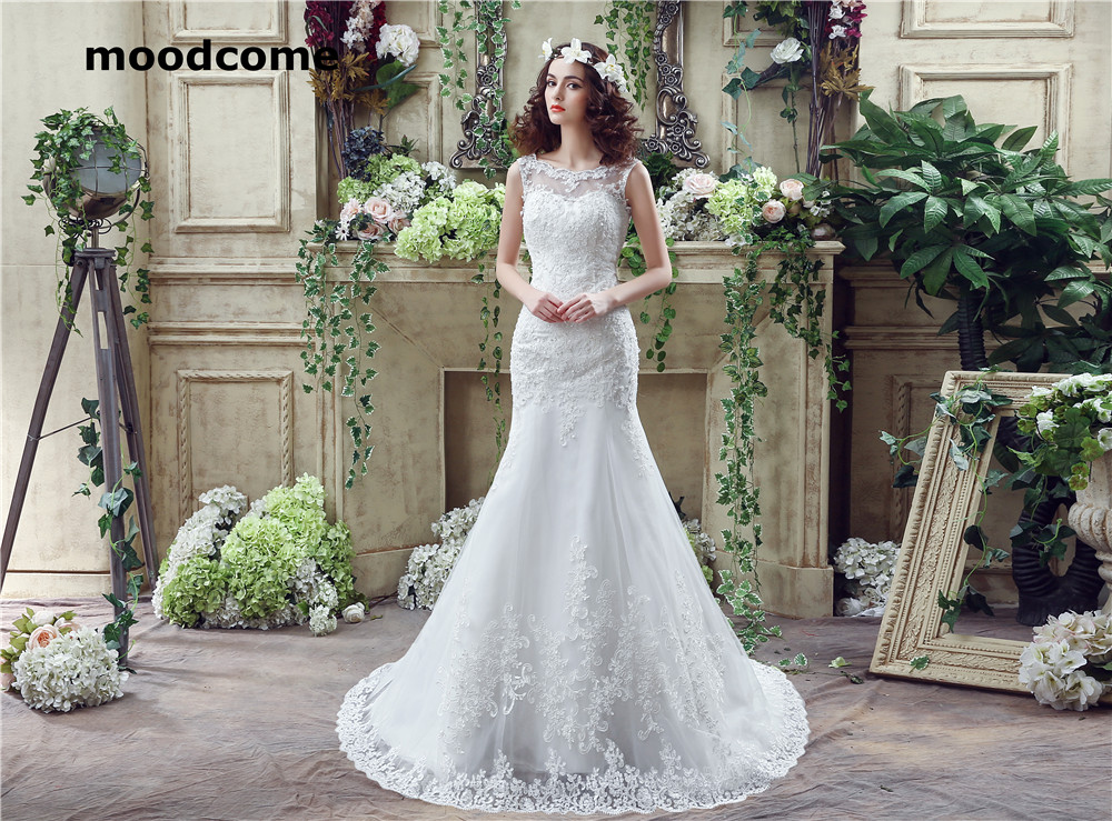 2018 Sexy Illusion Mermaid Wedding Dresses High Quality