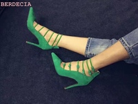 Women New Year Spring Buckle Strap Pumps Pointed Toe High Quality Green Suede Shoes Stiletto Heels