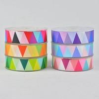 100 Yards Christmas Ribbons Festive Decoration Ribbons Geometric Pattern Grosgrain Color Printing Ribbon Spot Ribbon