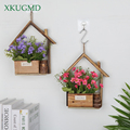 New Wall-hung Wooden Flower Pot Creative Pastoral Fleshy Flower Pots Small House Flower Basket Home Living Room Wall Decoration