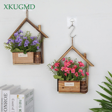 New Wall-hung Wooden Flower Pot Creative Pastoral Fleshy Pots Small House Basket Home Living Room Wall Decoration