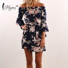 54f54c7e8ae Miyouj Off Shoulder Beach Dress Women Floral Print Beachwear Boho Style  Ladies