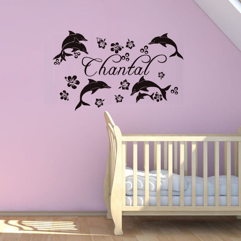 Wall Decal Flowers Dolphins Custom Name Personalized