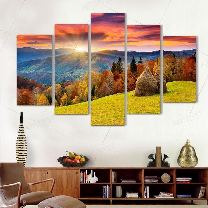 Artryst 5PCS Qızıl buğda tarlası kətan Rəsm Cuadros dekorasiya - Ev dekoru - Fotoqrafiya 1