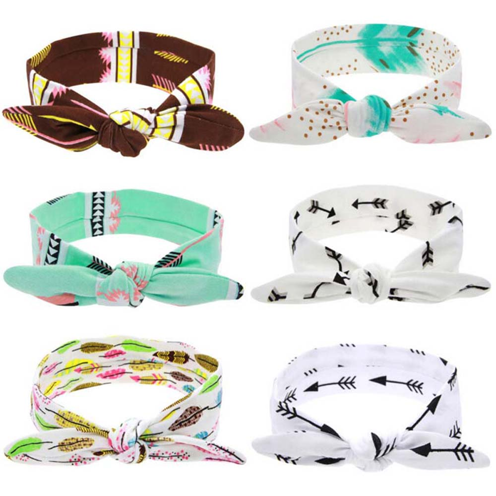 Lovely Girls Bow Knot Floral Headband DIY Hairband Rabbit Ear Feather Arrow Print Head Wrap Hair Band Hair Accessories shanfu women zebra stripe sinamay fascinator feather headband fashion lady hair accessories blue sfc12441