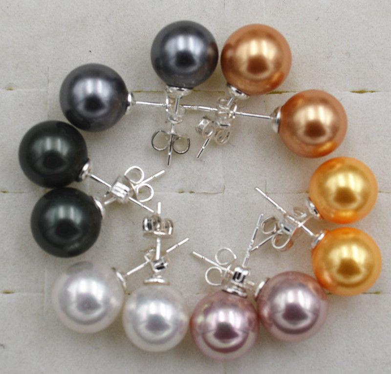 Fashion Multi Color 10mm South Sea Shell pearl 925 Silver Stud Earrings