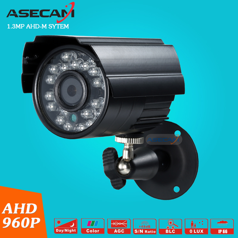 NEW  HD AHDM System 960P AHD Security Camera Waterproof Outdoor Metal Black Bullet 24LED Infrared Night Vision Surveillance hd ahd 960p 1 3mp security bullet camera outdoor 4 array infrared night vision