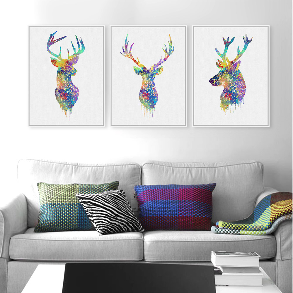 3 Piece Watercolor Abstract Deer Head Posters Prints Nordic Style ...