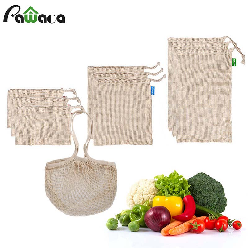 Natural Organic Cotton Mesh Produce Shopping Bag Reusable Bags for Fruit and Vegetables Washable Eco Friendly Fruit Mesh Bags