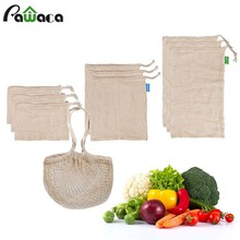 Natural Organic Cotton Mesh Produce Shopping Bag Reusable Bags for Fruit and Vegetables Washable Eco Friendly
