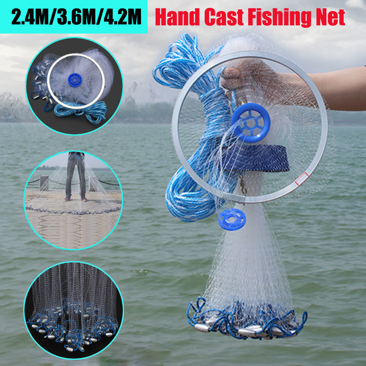 Bobing New Arrival 3.6m/2.4m Big Hand Cast Fishing Nylon Net Gill Spin Network Bait Net W/ Sinker Carp Fishing Tackle Accessory Various Styles
