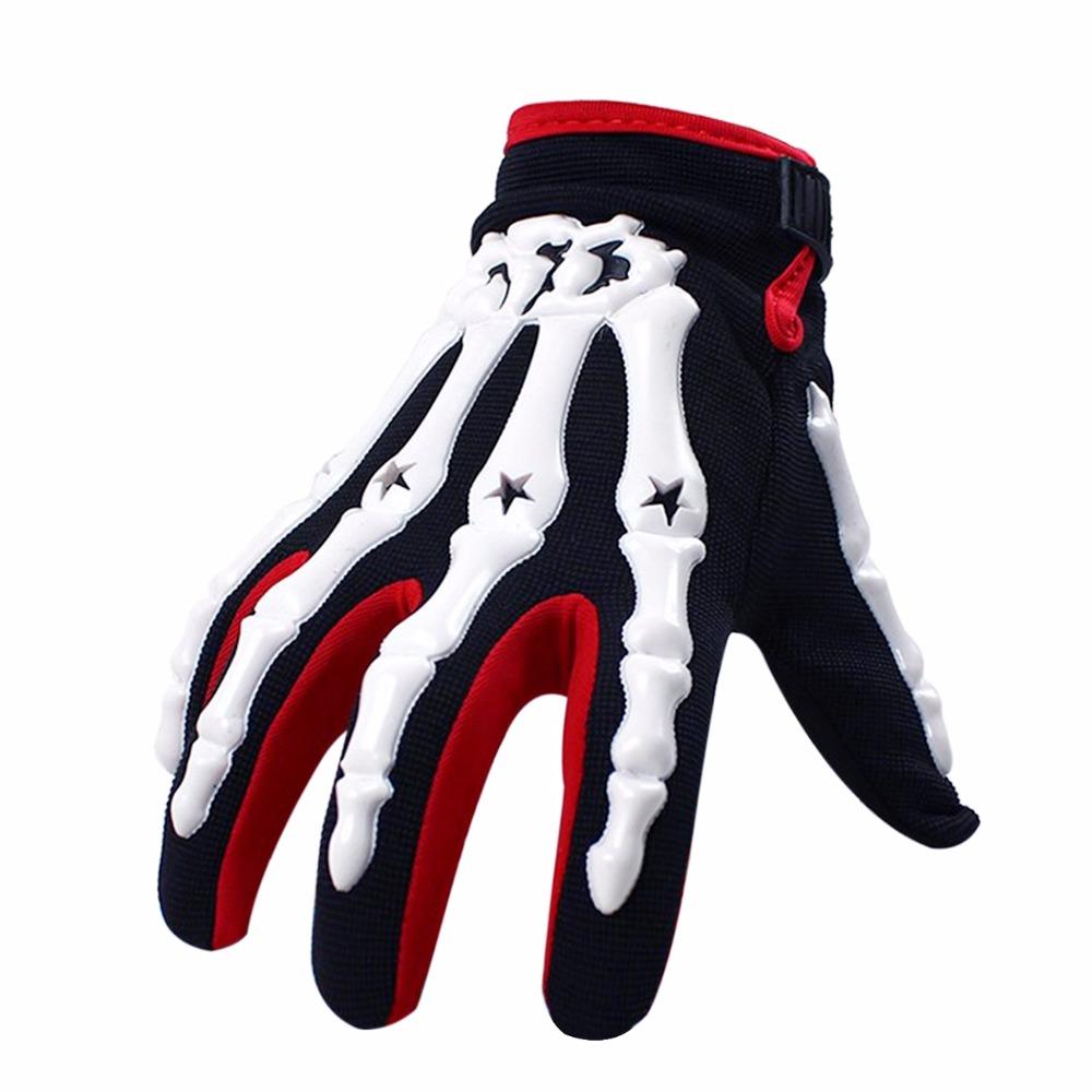 Prix pour 3 Couleur Moto gants plein doigt chevalier d'équitation squelette main Gants 3D Sport Fantôme Squelette D'os de crâne Gants C/5