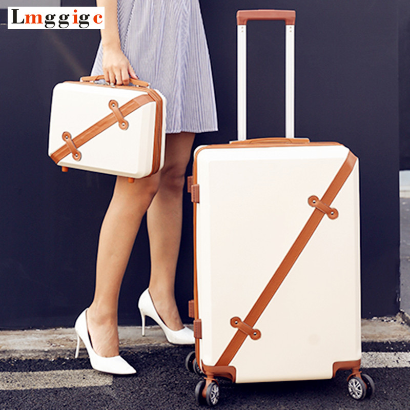 Vintage Rolling Luggage bag,Travel Suitcase with wheel ,Women Trolley Case,Men Universal Wheel ABS Hardcase Box ,Carry-On universal uheels trolley travel suitcase double shoulder backpack bag with rolling multilayer school bag commercial luggage