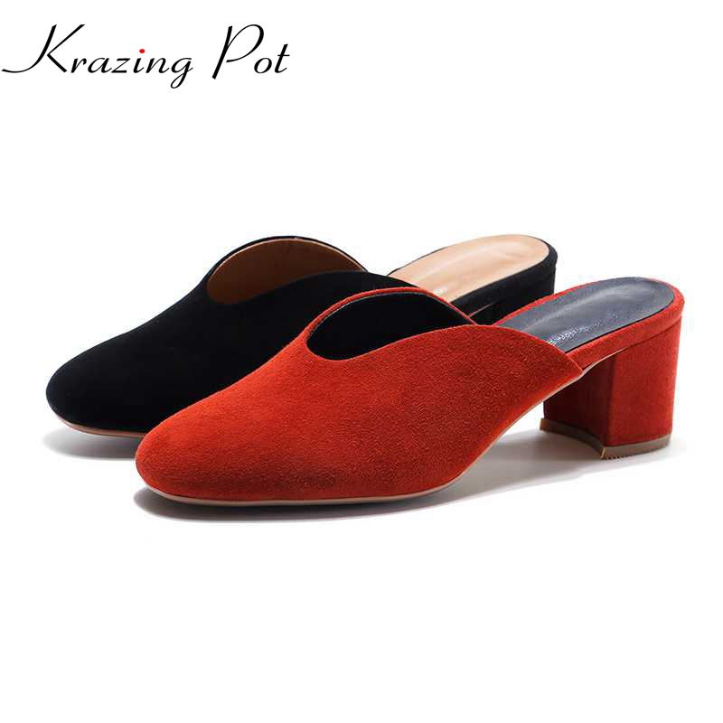 2017 Shoes women shallow fashion genuine leather round toe preppy style thick high heels slip on pumps slingback sandals L02 sintering motorcycle brake pads set fit suzuki gsf1250 gsf 1250 bandit abs 2006