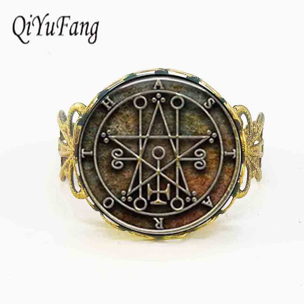 Qiyufang jewelry rings Antique VINTAGE Seal of Astaroth Sigil Ring jewelry steampunk for men women new 2017 charms silver bronze