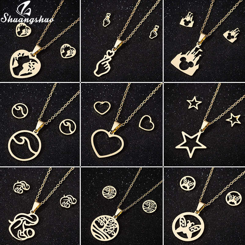 Shuangshuo Stainless Steel Wolrd Map Necklaces Pendants For Women Choker Fashion Jewelry Mickey Butterfly Heart Gold Necklace