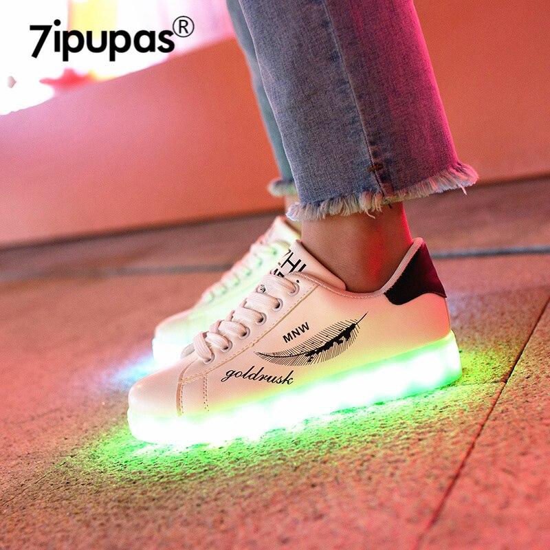 7ipupas 2018 HOT SALE Leaf Graffiti Kids Led Shoe 11 Color Luminous Sole Sneaker For Goy Gilr Beautiful Light Up Glowing Sneaker