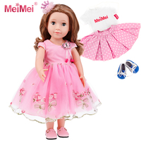 MeiMei 18 inch 45 CM Doll Girl Princess Outfit Toy Eyes Can Open & Close Toddler Dolls for Kids 3+ Adorable in Gift Box