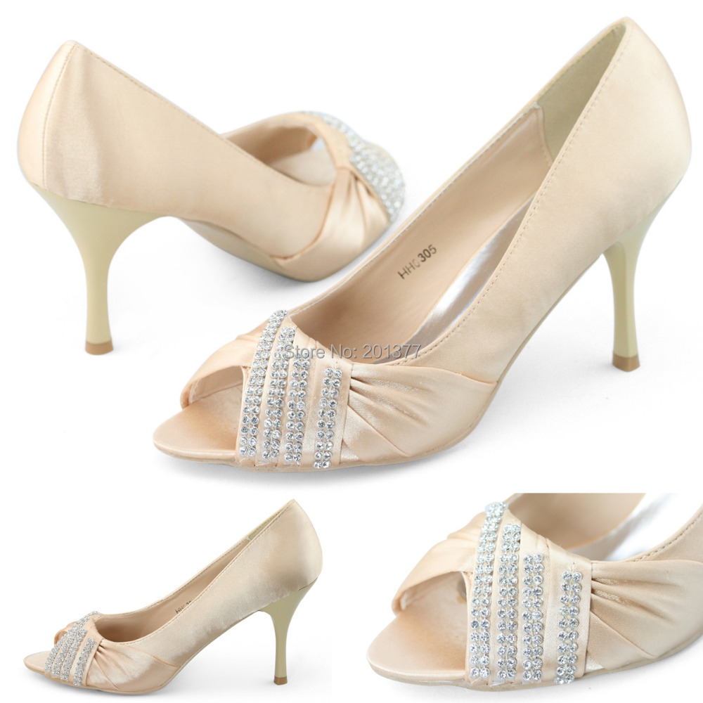 33c850f64c4 SHOEZY Elegance Womens White and Gold Satin Diamante Peep Toes Pumps Bridal  Bridesmaid shoes woman Mid Heels Sandals Shoes-in Women s Pumps from Shoes  on ...