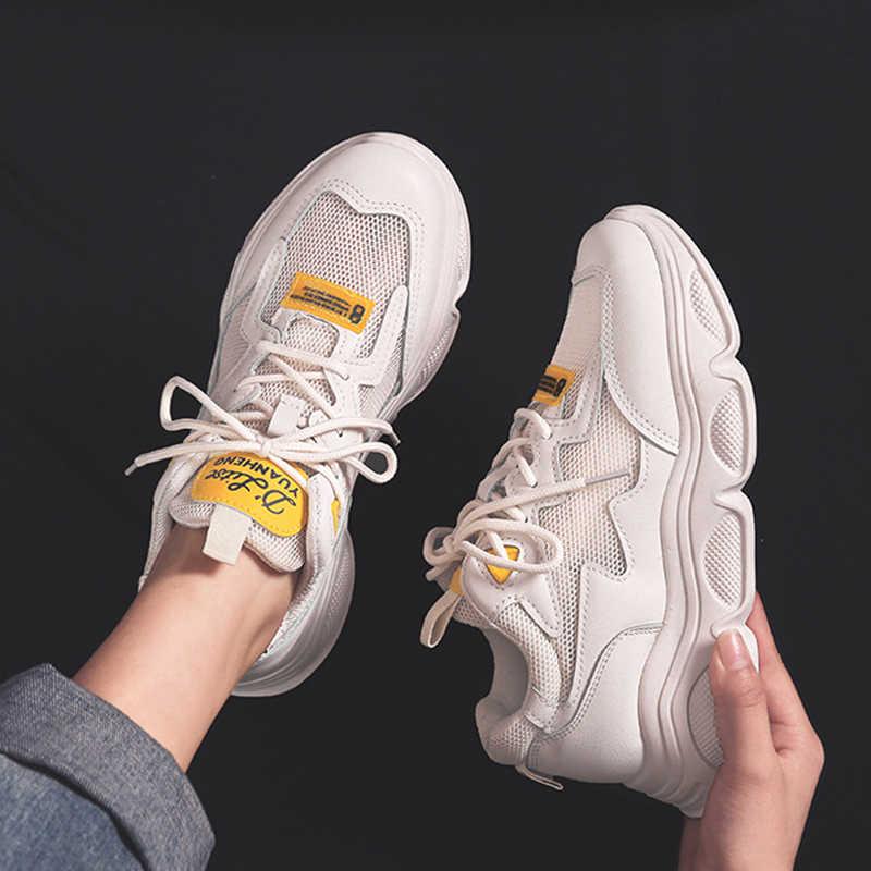 Kadın tıknaz ayakkabı 2019 moda kadın platform ayakkabılar Lace Up nefes hava vulkanize ayakkabı kadın kadın eğitmenler baba ayakkabı