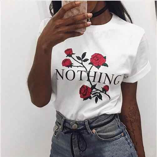 Hot Sale Thin Women T shirts 2019 fashion European and American O neck rose print letter cotton blend T-shirt 2346
