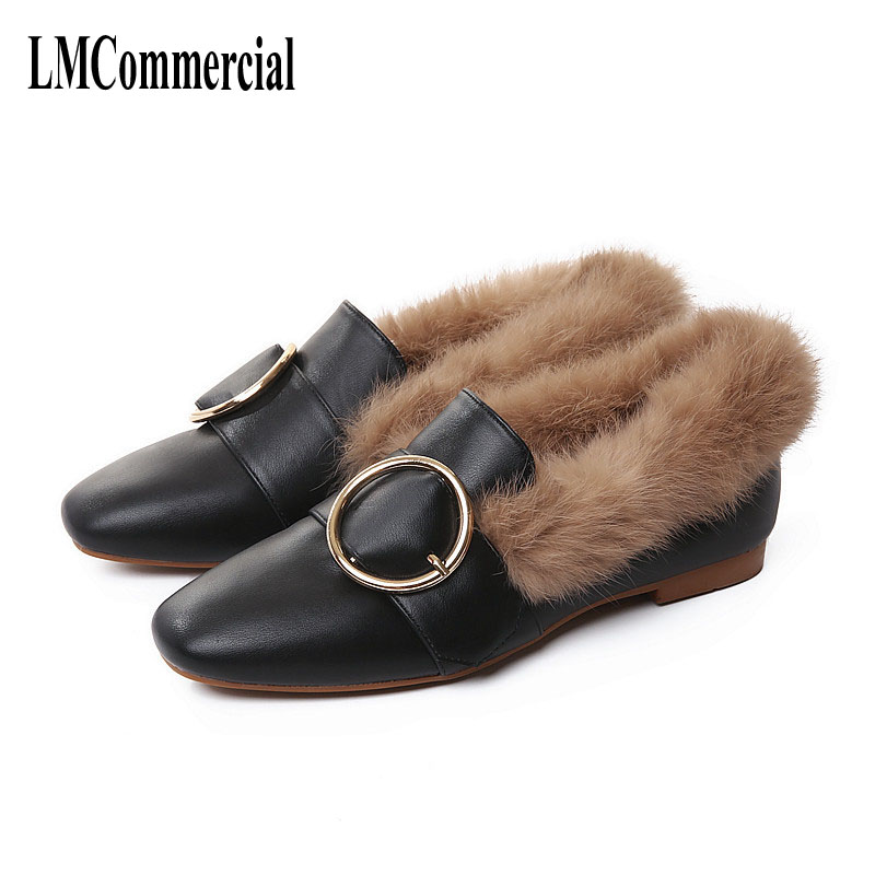 really rabbit fur with the flat black leather shoes with thick shoes plus velvet warm and comfortable lazy shoes  new woman shoe black and white senior rabbit fur hat