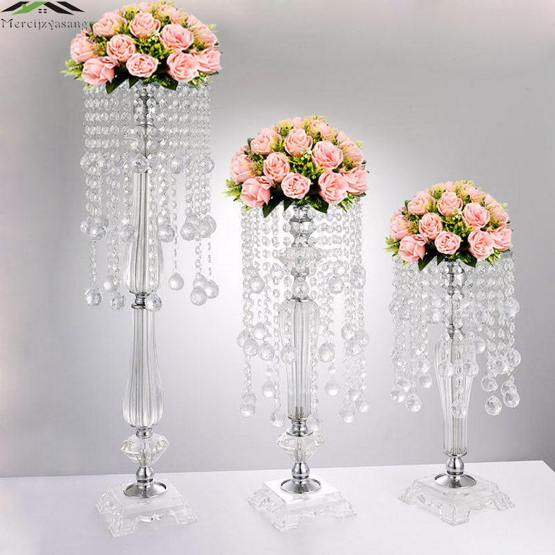 10Pcs Lot New Wedding Road Lead 73CM 29 5 Tall Acrylic With Crystal Europe Wedding Centerpiece