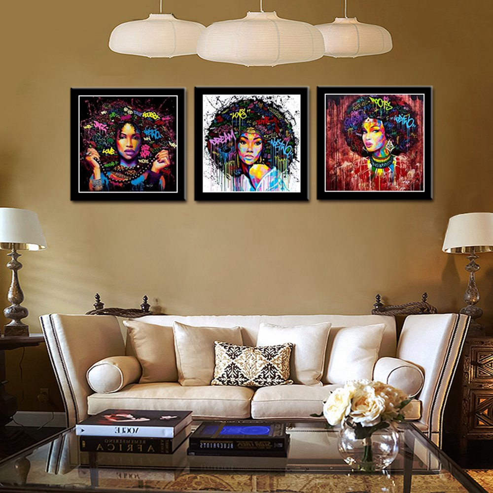 African American Black Art Canvas Wall Art Abstract ...