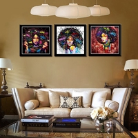 African American Black Art Canvas Wall Art Abstract Portrait Afro Women Canvas Painting Print For Living