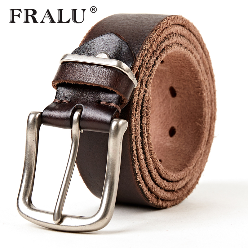 FRALU 2018 Designer Belts Men High Quality Genuine Leather Belt Luxury Man Military Style Pin Buckle Belts Plus Size