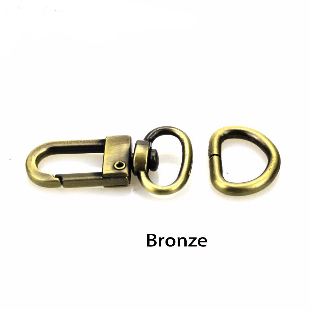 10pcs 4 Colors 1/2 Inch 12 Mm Bronze Golden Silver Bag Parts & Accessories Luggage Bag Buckle Snap Hook Lobster Clasp+D Ring