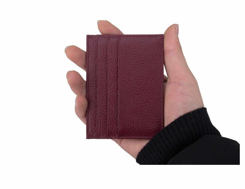 Hurtownie prawdziwa skóra bydlęca posiadacz karty ID wielu gniazdo Slim (Cash kieszonkowy Mini podróży działalności na rzecz portfel skrzynka dla mężczyźni kobiety