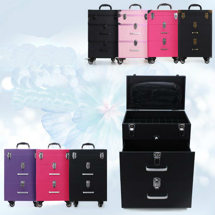 Nail Trolley Makeup Box Beauty Case With Wheels Professional Makeup Box Bag Black And Pink 35x23x56cm Luggage & Bags Carry-ons